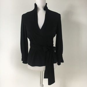 DVF black silk stretch Graciela wrap blouse 4